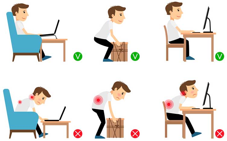 Man sitting working and lifting heavy things correct and incorrect postures